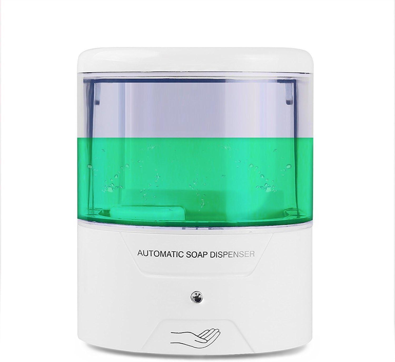 Dispensador de jabón automático de 600 ml, funciona con pilas, sensor de montaje en pared, dispensador de jabón líquido sin contacto