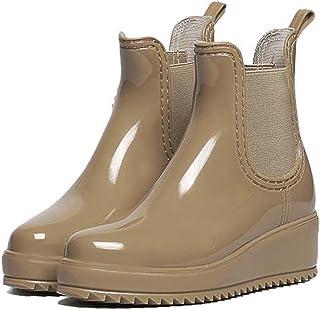 [アイモハ] サイドゴアウェッジソールショートレインブーツ/レインシューズ/ゴム長靴/雨靴/ガーデニングブーツ/レディース/レインブーツ/スノーブーツ/