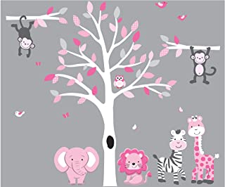 Large Pink & Gray Tree Decal with Jungle Animals