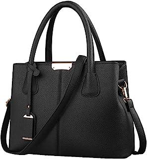 B&E LIFE Stylish Women Pu Leather Vertical Utility Top Handle Handbag Satchel Tote Purse Bag