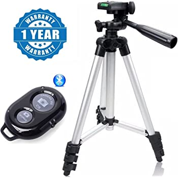 Drumstone Set of 3110 Camera Tripod & Bluetooth Smart Camera Shutter Button (Assorted Colour)