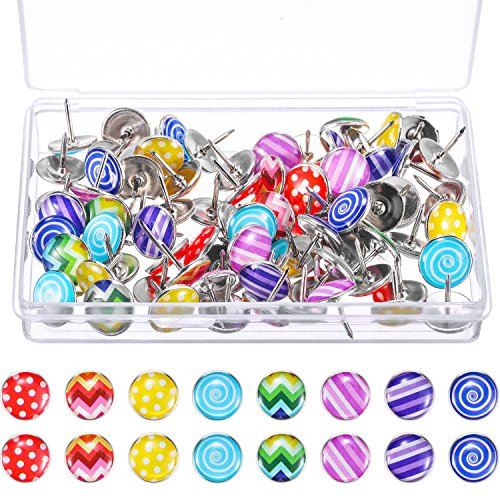 TecUnite Creative Fashion Push Pins Decorative Thumbtacks for Wall Maps, Photos, Bulletin Board or Cork Boards, 8 Different Patterns, 80 Pieces (Colorful)