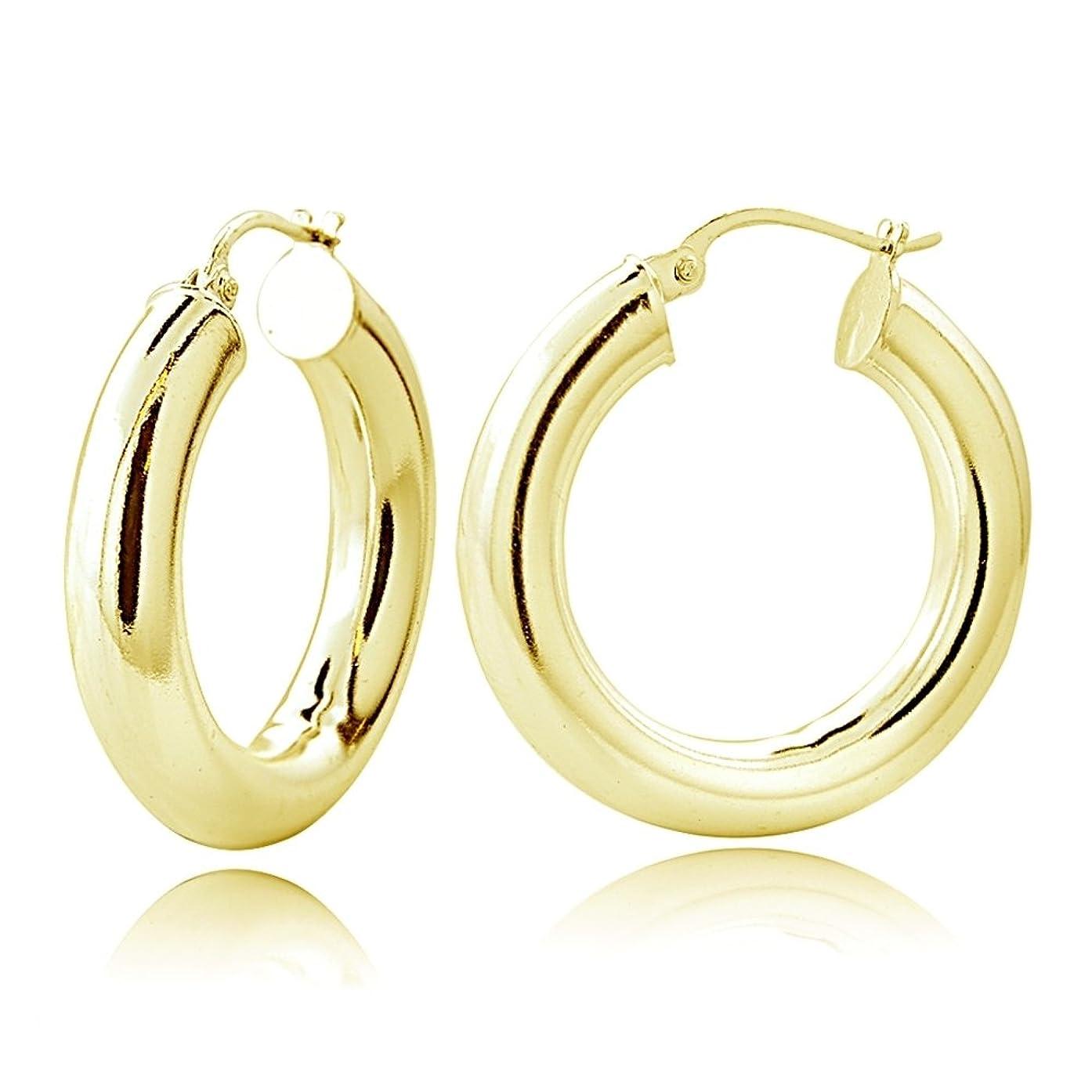 Hoops & Loops Sterling Silver 5mm High Polished Medium Round Hoop Earrings