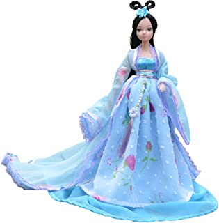 """Kylin Express Beautiful Chinese Style Handmade Ancient Costume Dress for 11.8"""" Doll Blue"""