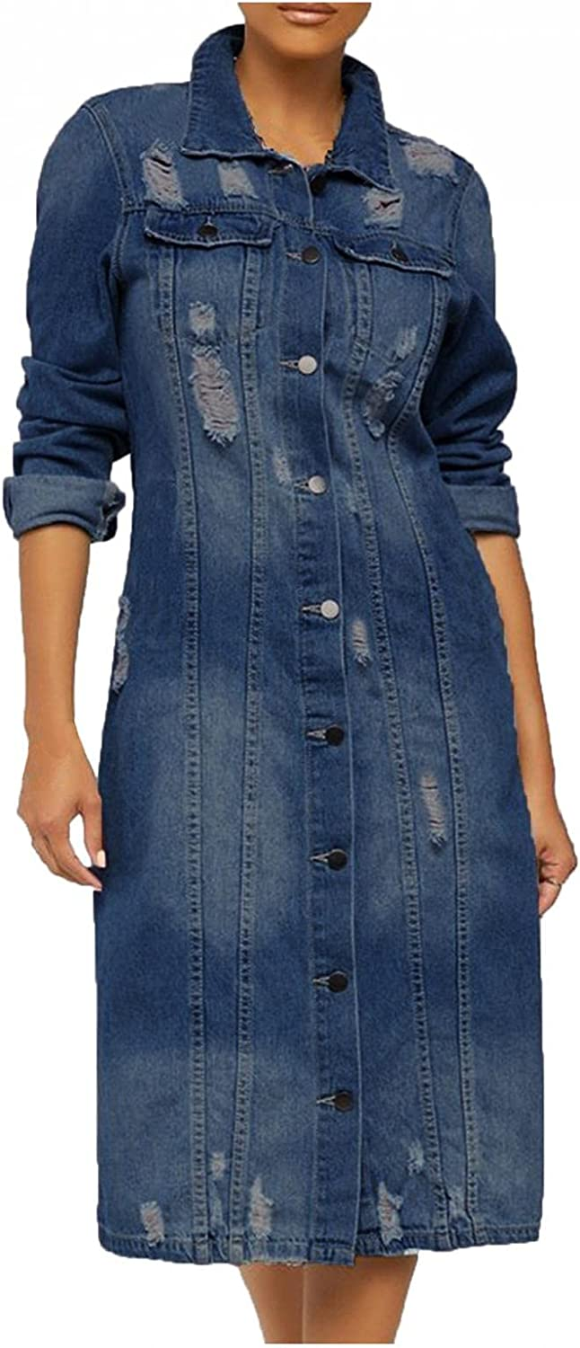 Kcocoo Women's Basic Button Down Stretch Fitted Long Sleeves Denim Jean Jacket Ripped Distressed Casual Long Boyfriend Coat