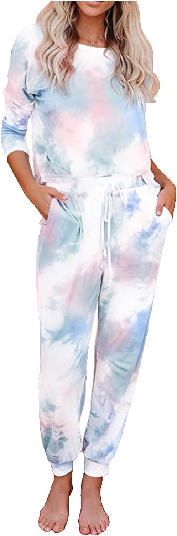 HAM Pajama Sets for Women Tie Dye Long Sleeve Tops and Pants PJ Sets Two Piece Joggers Loungewear Sleepwear Nightwear