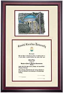 OCM Diploma Frames | Coastal Carolina University Chanticleer | Display Diploma Certificate | Maroon Mat | Home Office & Office Professional | Education Framed Diploma | Graduation Gift | Custom Frame