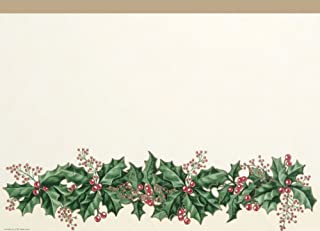 Creative Converting 39568 Winter Holly Border Print Plastic Table Cover, 140cm by 270cm