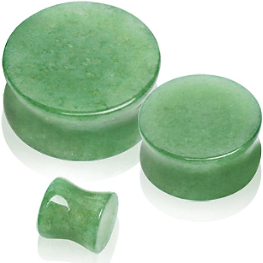 Covet Jewelry Natural Jade Semi-Precious Stone Saddle Plug