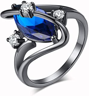 HYLJZ Anello Fashion S Shape White Fire Opal Ring Black Gold Filled Marquise Cut Horse Eye Birthstone Rings for Women Cz J...