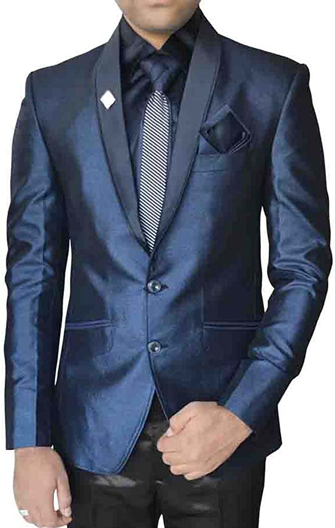INMONARCH Mens Ink Blue Polyester 6 Pc Tuxedo Suit TX05058