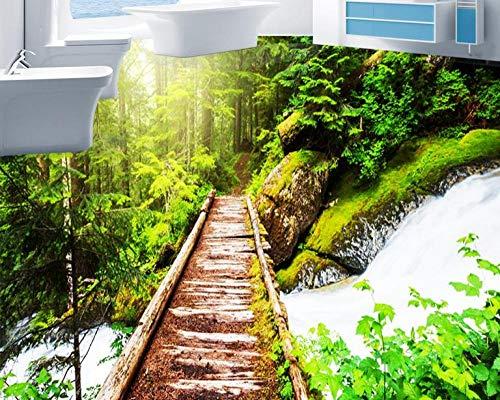 Personalizar papel tapiz de suelo 3d autoadhesivo bosque pastoral 3D baldosas de suelo papel tapiz de vinilo papel tapiz de fondo-400 * 280cm