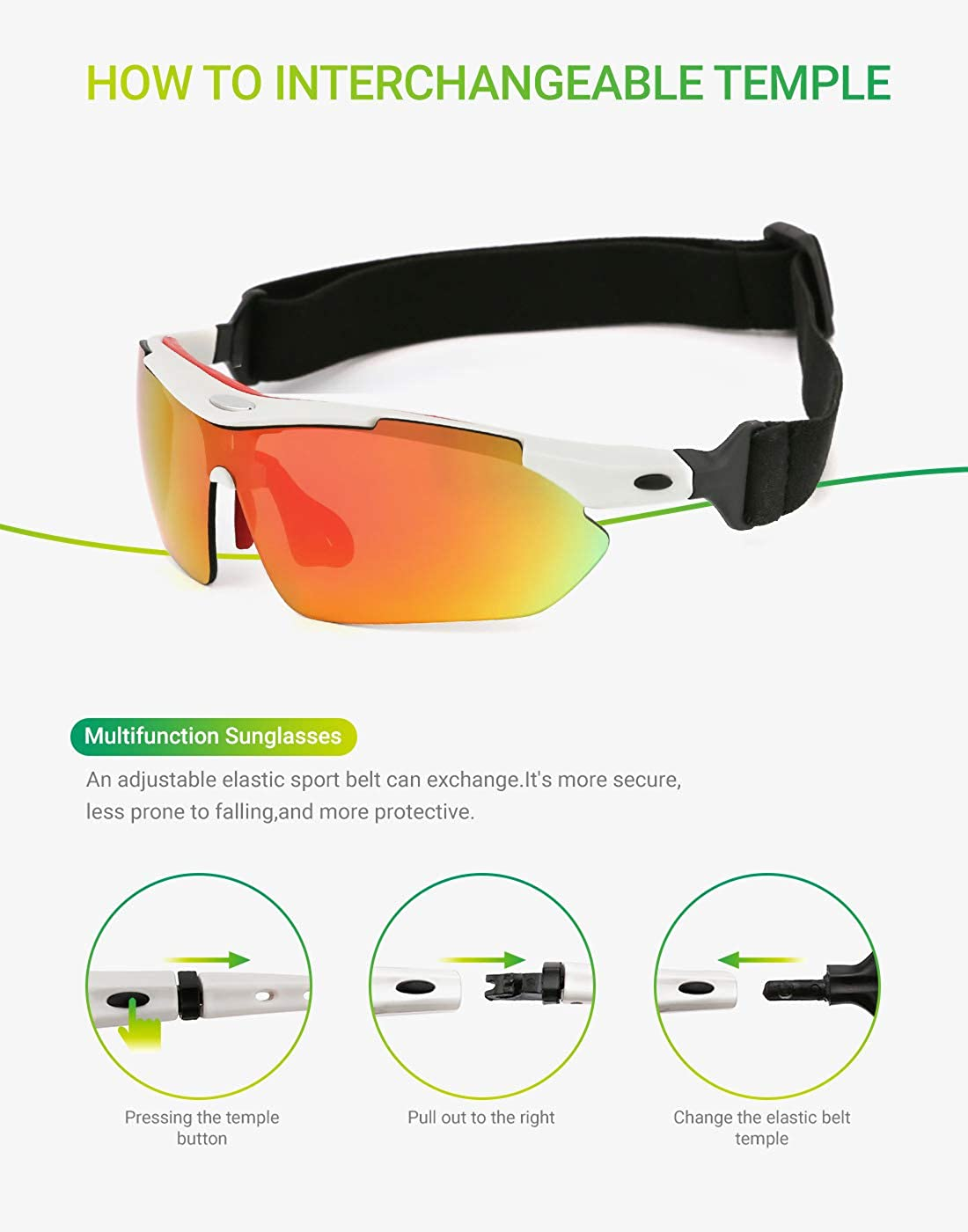 modesoda Men Women Polarized Sports Sunglasses with 5 Interchangeable Lenses for Cycling Fishing Driving Sun Glasses
