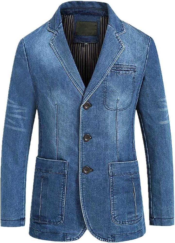 Newbestyle Men's Classic Notched Collar 3 Button Tailoring Distressed Denim Blazer Jacket