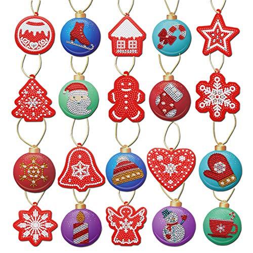 hatatit 20 Pieces DIY Diamond Painting Christmas Wrap Tag Christmas Tree Hanging Decoration Handicraft Cards Holiday Card Art Craft Decoration