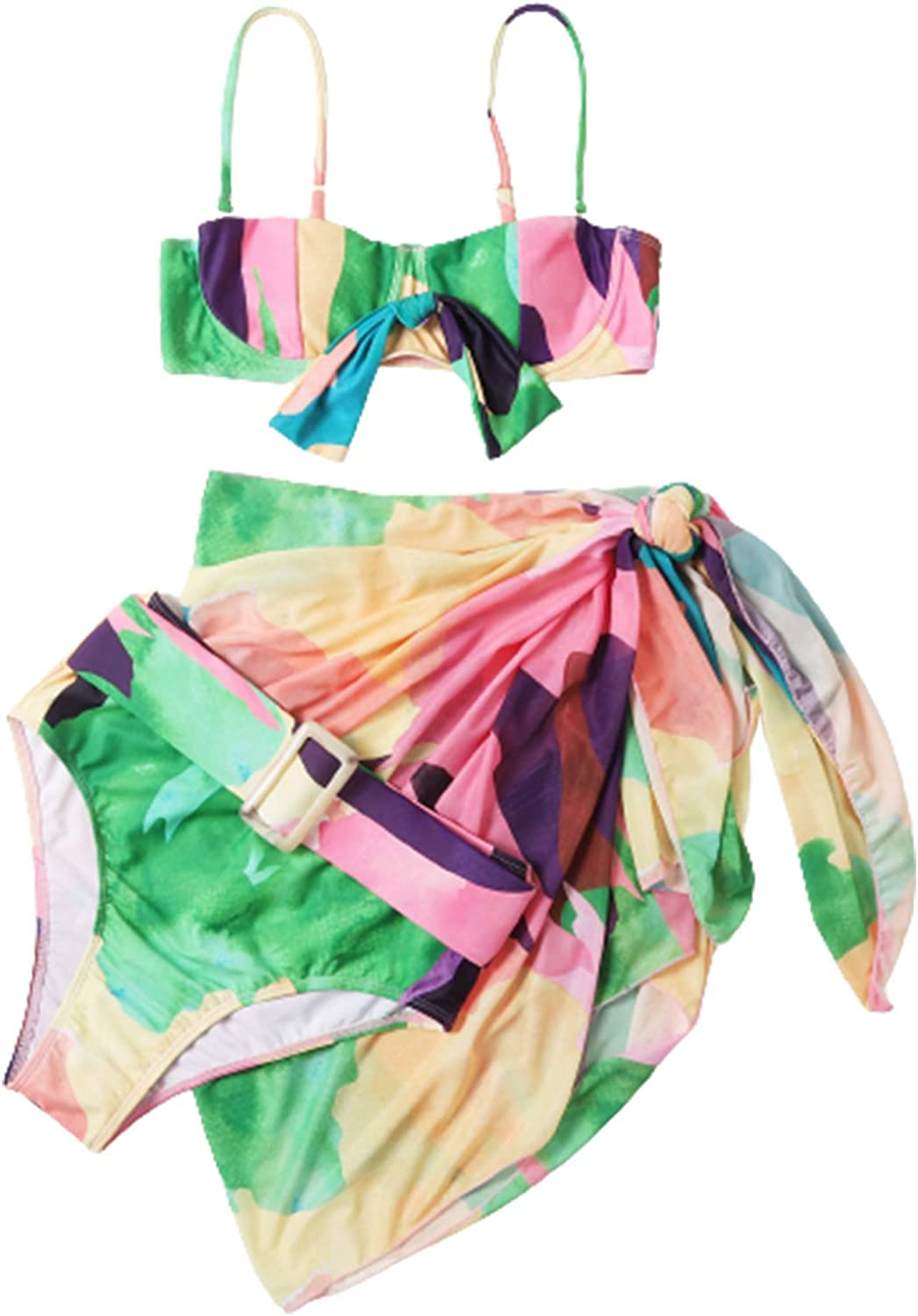 SOLY HUX Women's Color Block High Waisted Bikini Bathing Suits with Cover Up Beach Skirt 3 Piece Swimsuits Green Pink S