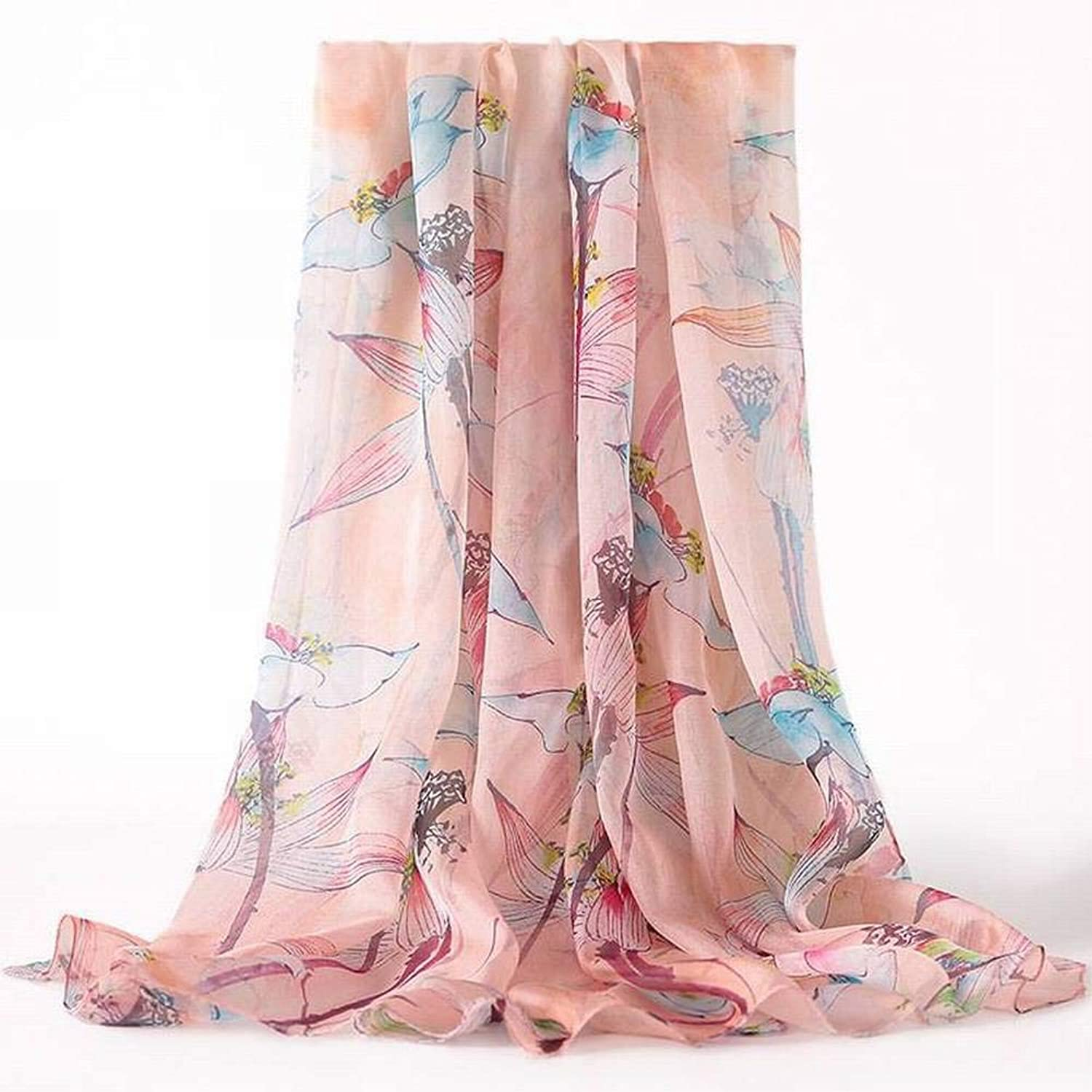 European and American Street Printing Silk Female Decorative Flower Long Scarf Autumn and Winter Outdoor MultiFunctional Fashion Trend Wild Warm Shawl Scarf Gift, QiXian, 2  Hibiscus Flower