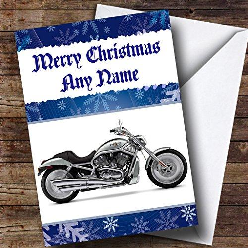 Blauwe motorfiets Gepersonaliseerde kerstkaart