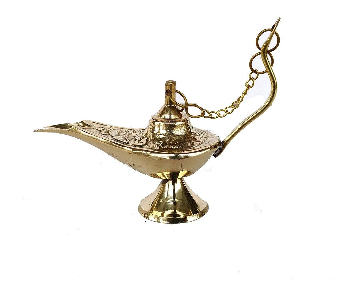 Rastogi Handicrafts真鍮Aladdin Genie Lamps Incense Burners Big and Smallサイズゴールデンカラーランプ 4 x 3 inch zfzfs