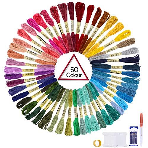 Oladwolf 50 Madejas por Paquete, Hilo de Bordar, Hilo de Punto de Cruz, Pulsera de la Amistad con Hilos de Hilo de Bordar, 100% Algodón, 50 Colores, Color Arco Iris.