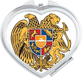 DIYthinker Yerevan Armenia National Emblem Heart Compact Makeup Mirror Portable Cute Hand Pocket Mirrors Multicolor