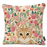 Throw Pillow Cover Orange Portrait Tabby Cat Spring Florals Cute Lady Person Decorative Pillow Case Home Decor Square 18 x 18 Inch Pillowcase Cotton Linen