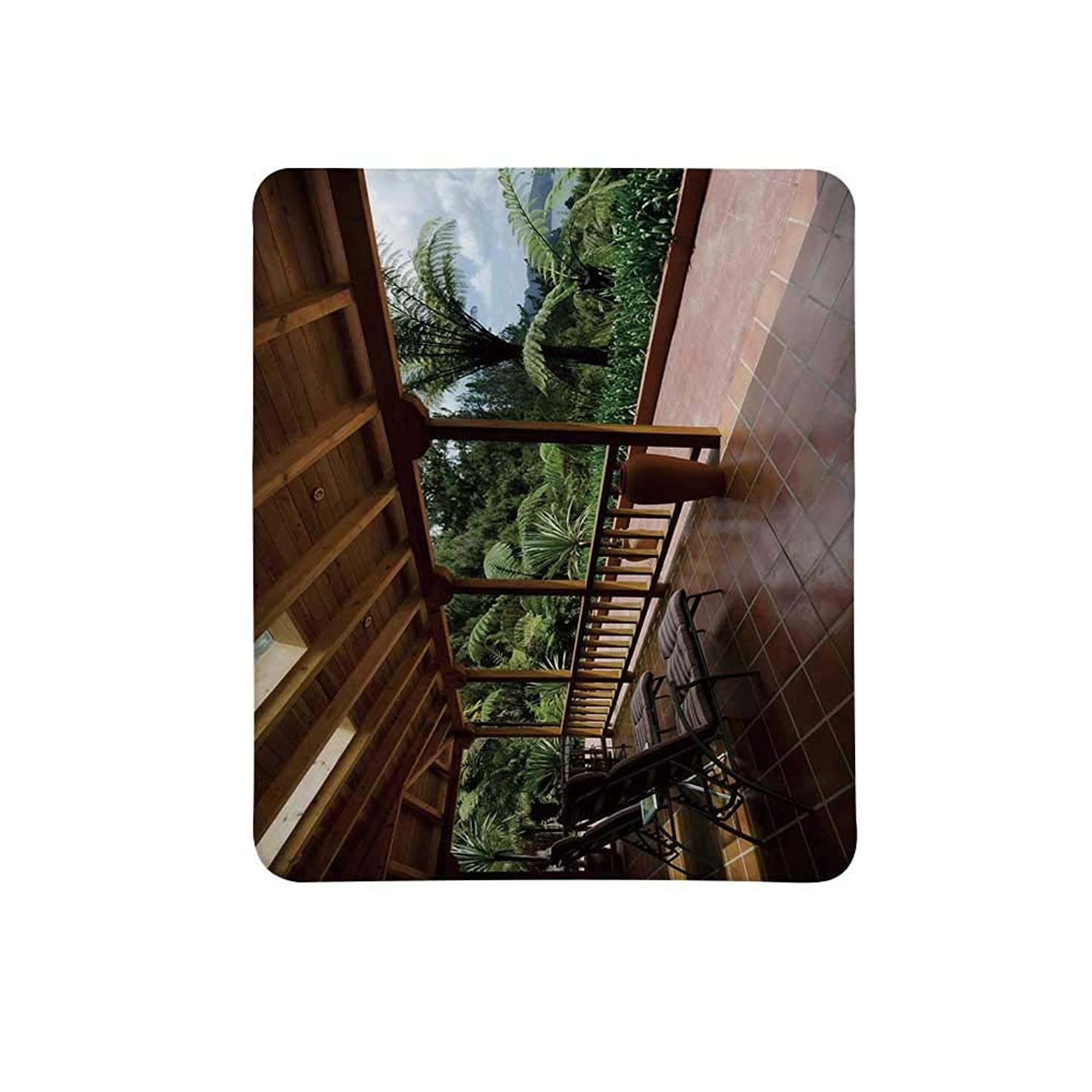 Patio Decor Non Slip Mouse Pad,Sub Tropical Wooden Terrace Near Bushes and Grass Villa Yard Lifestyle for Home & Office,11