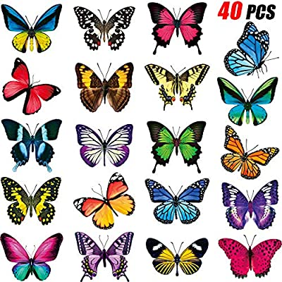 Large Size Butterfly Window Clings Anti-Collision Window Clings Decals to Prevent Bird Strikes on Window Glass Non Adhesive Vinyl Cling Butterfly Stickers(40 Pieces)