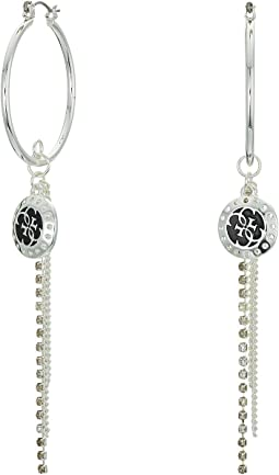 Medium Hoop with Charm and Chain Drop Earrings