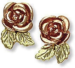 Landstroms 10k Black Hills Gold Rose Earrings, for Pierced Ears - G L01690