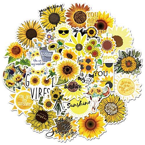 XKMY - Adesivi da spiaggia da donna, 50 pezzi, motivo: girasole, con scritta  You are my Sunshine , per skateboard, frigo, chitarra, computer portatile, viaggio e bagagli, colore: 50 pezzi