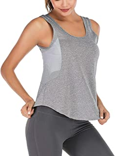 Gfengkuan Women Vest Sportswear Tops Summer Mesh Camisole Tank Casual Breathable Quick-drying U Neck Sleeveless Activewear...