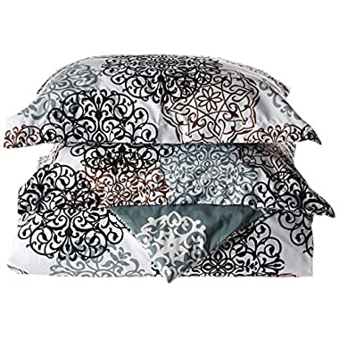 Chic Home 3 Piece Jerome Boho Inspired Reversible Print Duvet Set, Queen, Beige
