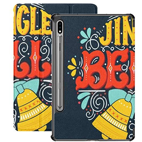 Funda para Samsung Galaxy S7 con Soporte para bolígrafo S Jingle Bells Funda de Piel sintética de Vacaciones de Invierno Dibujada a Mano para Samsung Galaxy Tab S7 de 11 Pulgadas 2020, Funda para Sam