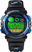 Tonnier Watch Kids Outdoor Sports Watches Multi-Color Digital LED Back Light Stopwatch Waterproof Wristwatches for Childre...