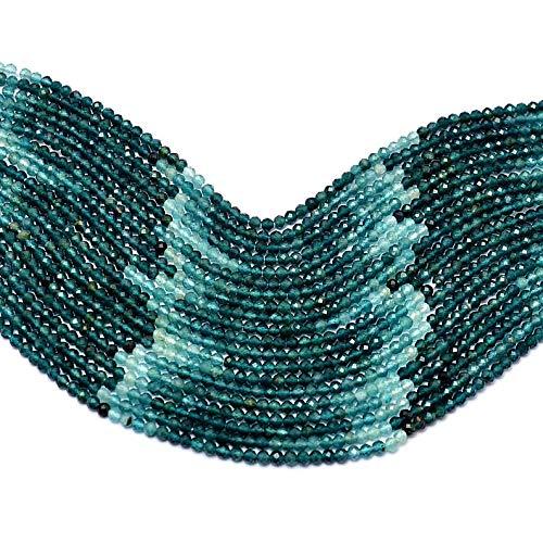 Cuentas de grandidierita natural extremadamente raras de 2 a 3 mm de microfacetadas Rondelle | hebra de 33 cm | AAA+ Grandidierite Semi Precious Gemstone Rondelle