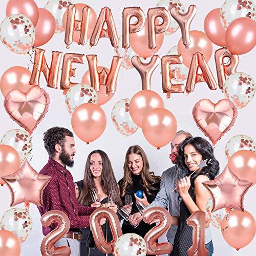 Nochevieja Decoraciones Oro Rosa Feliz Año Nuevo Banner Foil Globos Mantel Rollos de Cinta para Año Nuevo Suministros de Fiesta 2021 Decoración Graduación Cumpleaños Boda Aniversario Fiesta
