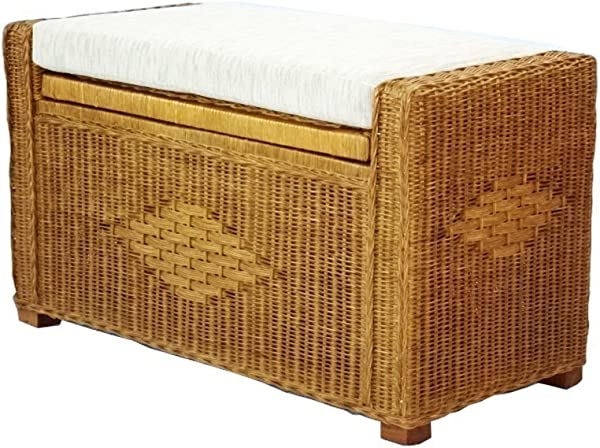 SunBear Furniture Handmade Rectangular Chest Ottoman Bruno 32 ECO Natural Rattan Wicker W Cushion Cognac