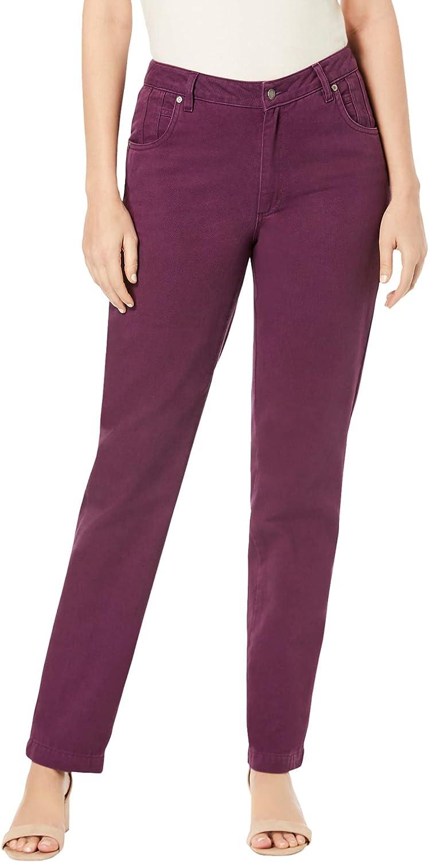 Jessica London Women's Plus Size Classic Cotton Denim Straight Jeans 100% Cotton - 14, Dark Berry Beige
