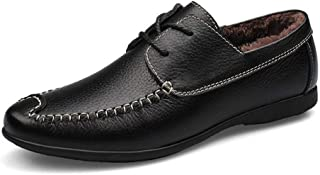 Xujw-shoes, Bratheable Mens Loafers Leather Driving Loafers for Men Boat Moccasins Lace Up Style PU Leather Breathable Low Top Solid Color Round Toe (Hollow Optional)