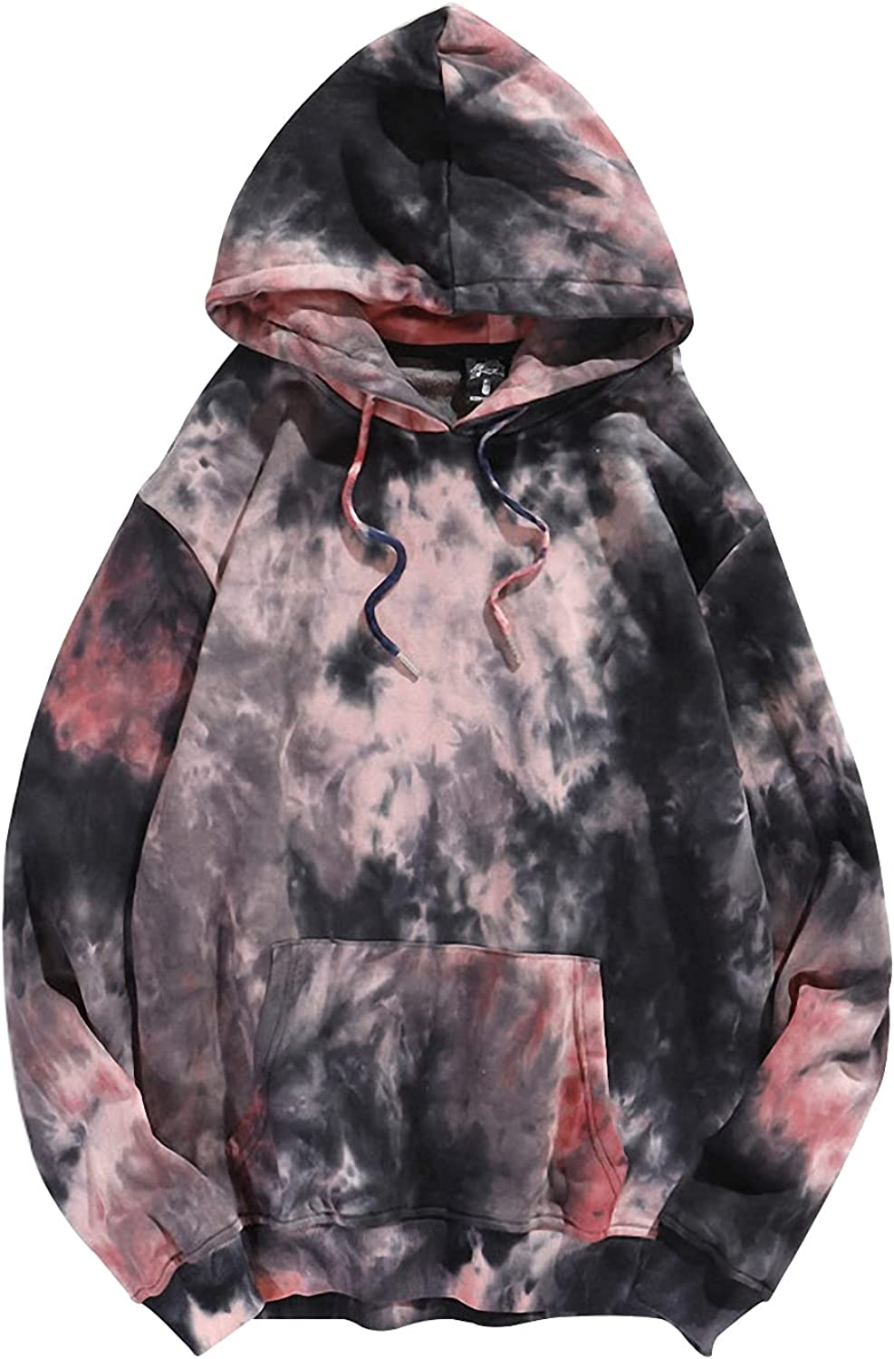 Gihuo Men's Tie Dye Direct stock discount Print Drawstring Sleeve Hooded Long Industry No. 1 Streetwe