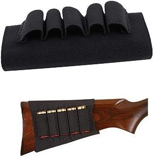 Culata de Rifle de Escopeta,Rifle Shotgun Escopeta Buttstock Shells Soporte de Cartucho de Caza Elástico Negro Cartuchos de Escopeta Escudo de Culata de Munición Bolsa de Munición con 5 Carcasas