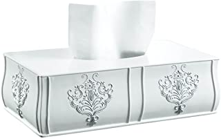 Creative Scents Vintage White Tissue Box Cover Rectangular (11.25 x 6.25 x 3.25) – Decorative Bath Tissues Paper Napkin Holder- Resin Rectangle Napkins Container- For Elegant Bathroom Decor