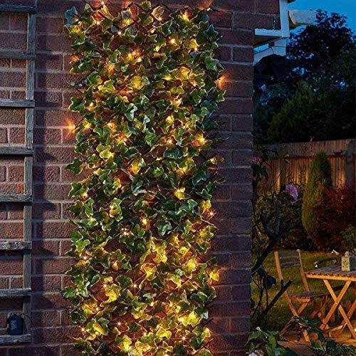 Smart Garden 60cm x 180cm Expanding Solar Pre Lit Ivy Leaf Trellis Bin Screen