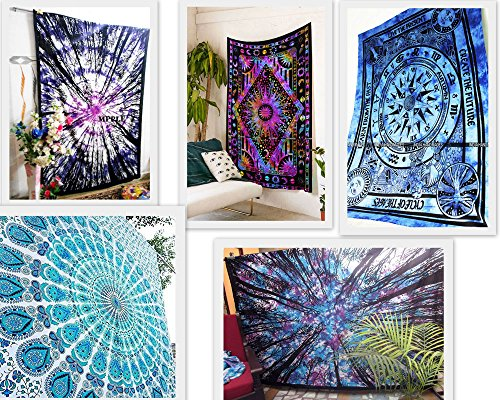 FUTURE HANDMADE Wholesale 5 Twin Tapestries Wall Hanging Mandala Bohemian Wholesale Indian Printed Tapestries Celtic Cycle of Ages Tapestry Sun Moon Stars Psychedelic Indian Cotton Bedspreads