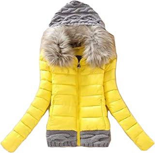 Macondoo Women Slim Parkas Coat Quilted Zip Up Faux Fur Collar Hooded Down Jacket