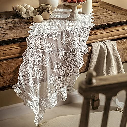 Camino de mesa vintage de encaje blanco superpuesto exquisita tela de encaje...