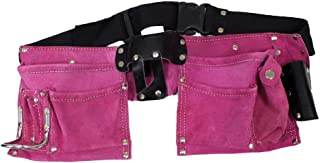 7 Pocket Pink Suede Double Tool Pouches With Nylon Belt: AS2103S-PNK