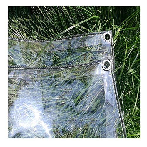AMSXNOO Klare Pflanzendecke, 0,3mm Hochleistungs Plane Wasserdicht mit Ösen, Abdeckplane Transparente Regenschutzplatte aus PVC Kunststoff für Balkon im Freien (Size : 2.4x4m)