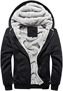 Sun Men Winter Comfortable Hooded Jacket Hoodie Faux-Fur Lined Warm Coat